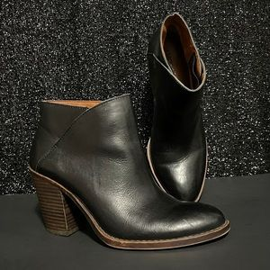 Lucky Brand Eesa  Leather Black Ankle Boot